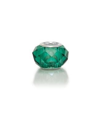 Фасетирани стъклени мъниста - маслено зелени